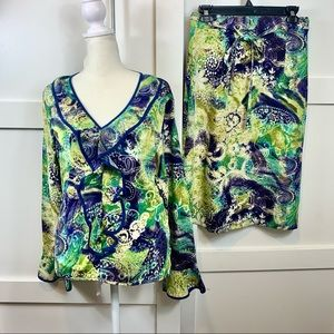 two piece silk skirt blouse